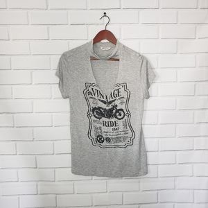 Grey t-shirt with vintage motorcycle graph…